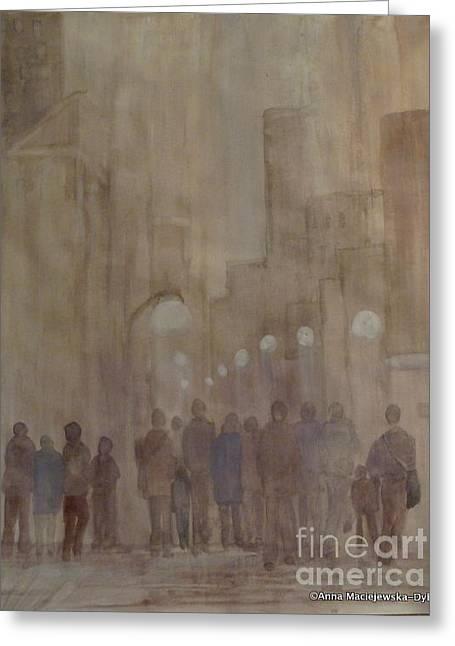 Winter Morning In The City Greeting Card by Anna Folkartanna Maciejewska-Dyba