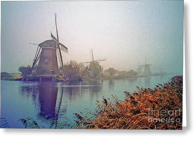 Greeting Card featuring the photograph Winter Morning Kinderdijk by Nigel Fletcher-Jones