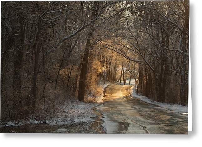 Winter Morning Road Greeting Card by Robert Clayton