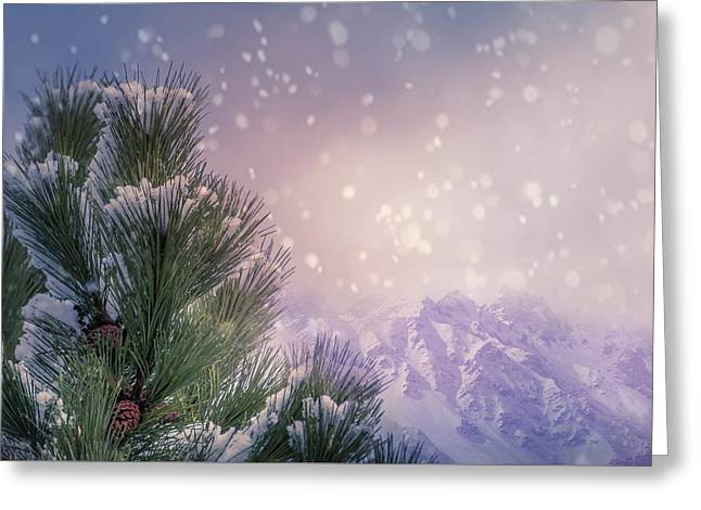 Winter Mountain Scene With Snow Falling  Greeting Card by Art Spectrum