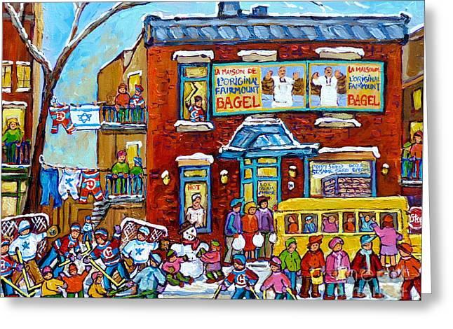 Winter Neighborhood Fun Fairmount Bagel Montreal Scene Hockey Art Montreal Memories Canadian Art   Greeting Card