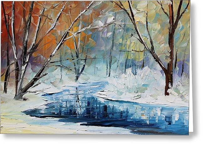 Winter New Greeting Card by Leonid Afremov
