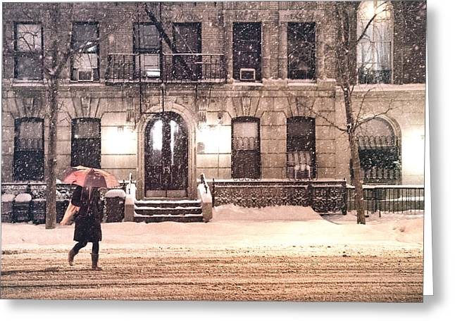 Winter - New York City - Snow Falling Greeting Card by Vivienne Gucwa