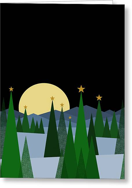 Winter Night Full Moon Greeting Card by Val Arie