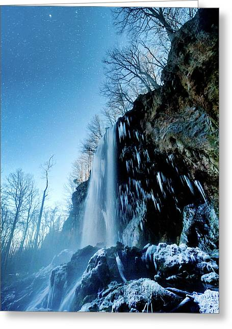 Winter Night Mist Greeting Card by Jon Beard