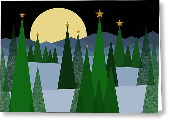 Winter Night Moon Greeting Card