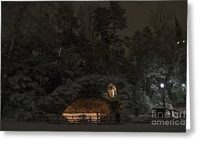 Winter Night Prayer At Notre Dame Grotto Greeting Card