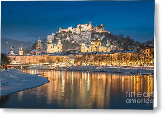 Winter Night Shot Of Salzburg Greeting Card