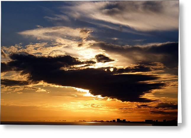 Winter Ocean Sunset At Cherry Grove Beach Greeting Card by Elena Tudor