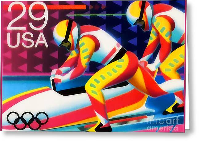 Winter Olympics - Bobsledding Greeting Card by Lanjee Chee