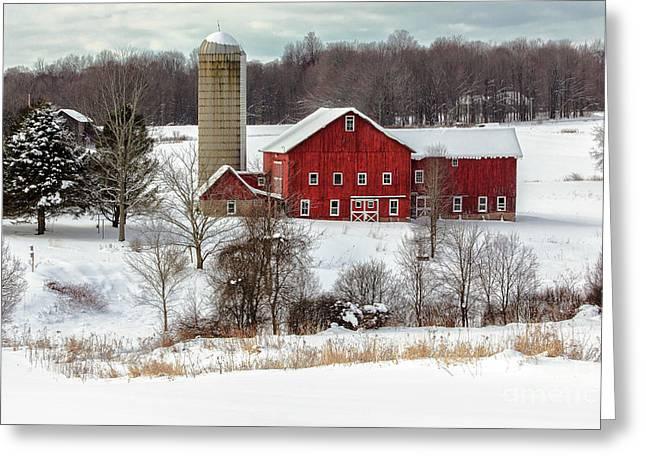 Winter On A Farm Greeting Card
