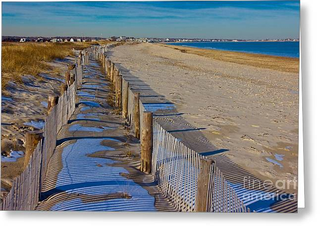 Winter On Duxbury Beach Greeting Card by Amazing Jules