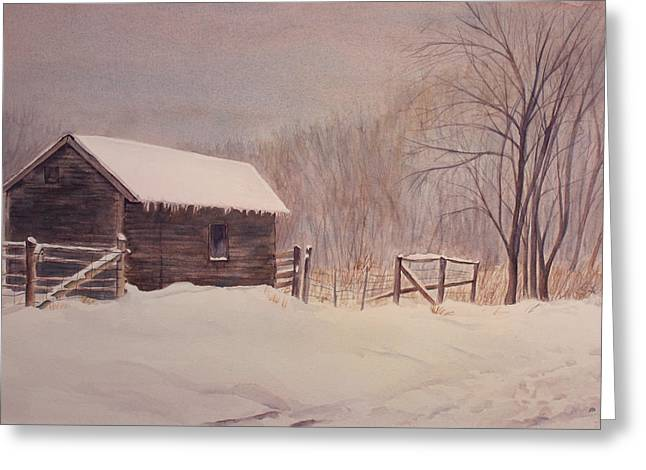 Winter On The Farm  Greeting Card by Debbie Homewood