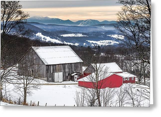 Winter On The Farm On The Hill Greeting Card