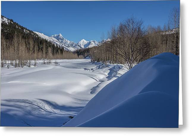 Winter On The Middle Fork Of The Flathead River Greeting Card by Wild Montana Images