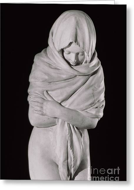 Winter Or The Chilly Woman Greeting Card by Jean-Antoine Houdon