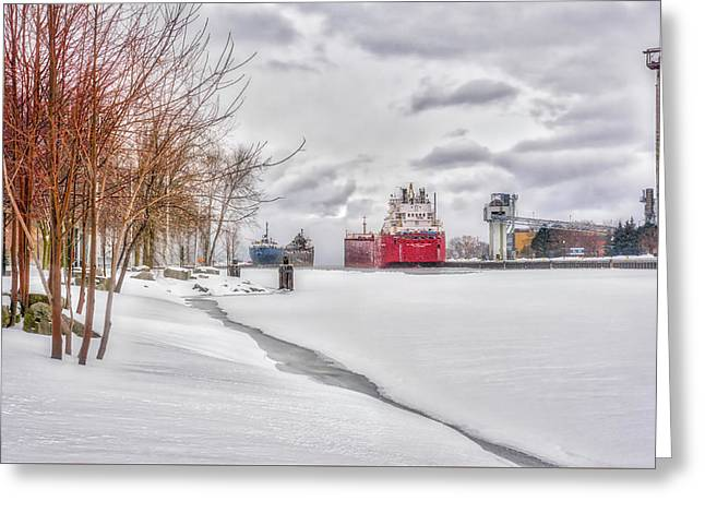 Winter Owen Sound Harbour Greeting Card