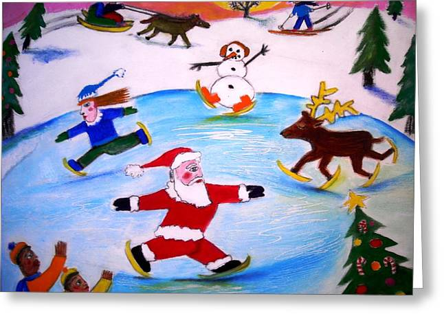 Winter Party With Santa And Rudolph Greeting Card by Ward Smith