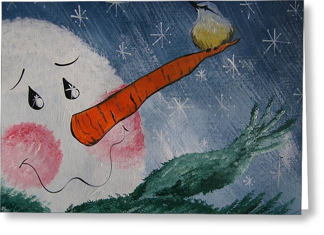 Greeting Card featuring the painting Winter Perch by Leslie Manley
