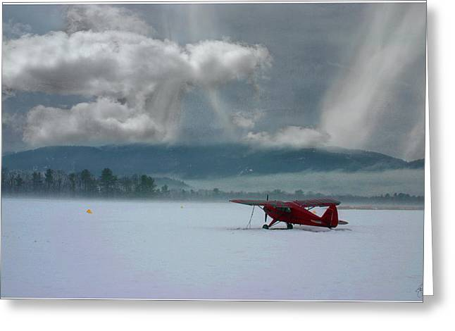 Winter Plane Greeting Card