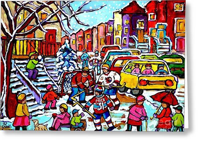 Winter Playground Montreal Hockey Kids Street Hockey Street Scene Painting Carole Spandau Greeting Card