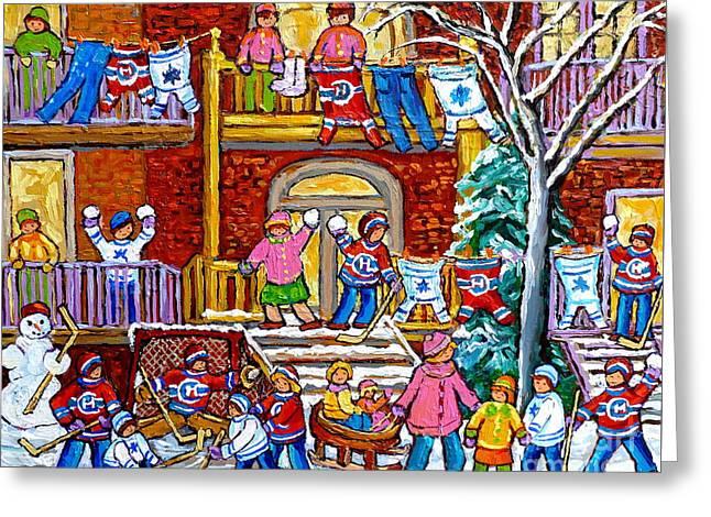 Winter Playground Neighborhood Street Hockey Jerseys Wash Day Duplex Porches Montreal Memories Art Greeting Card