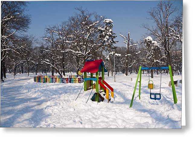Winter Playground Greeting Card by Rae Tucker