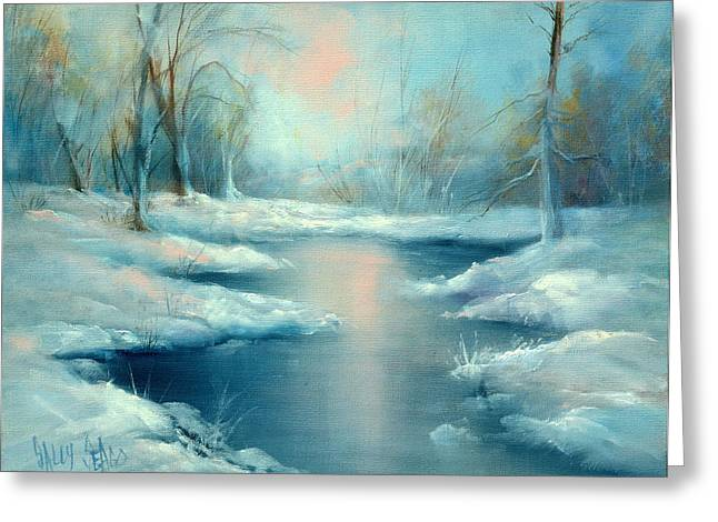 Winter Pond Greeting Card by Sally Seago