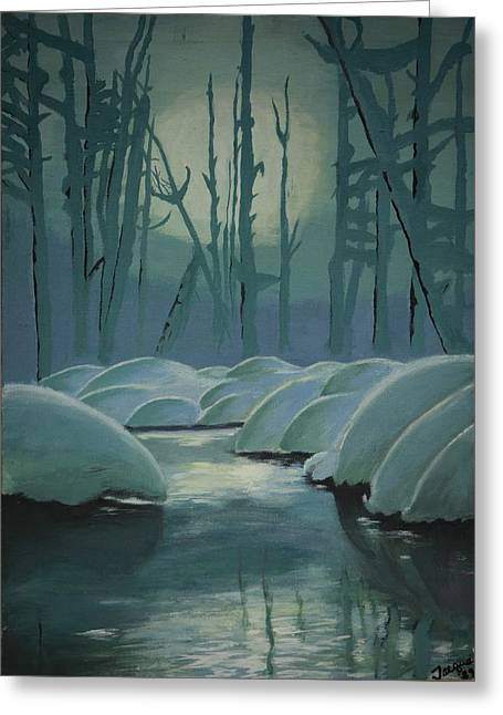 Greeting Card featuring the painting Winter Quiet by Jacqueline Athmann