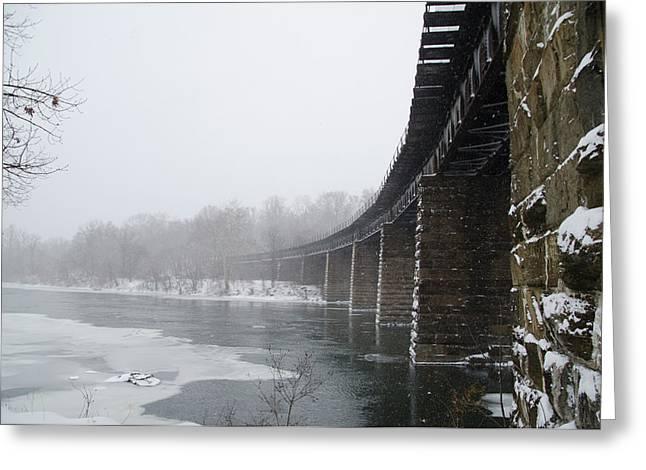 Winter - Railroad Bridge In East Falls Greeting Card