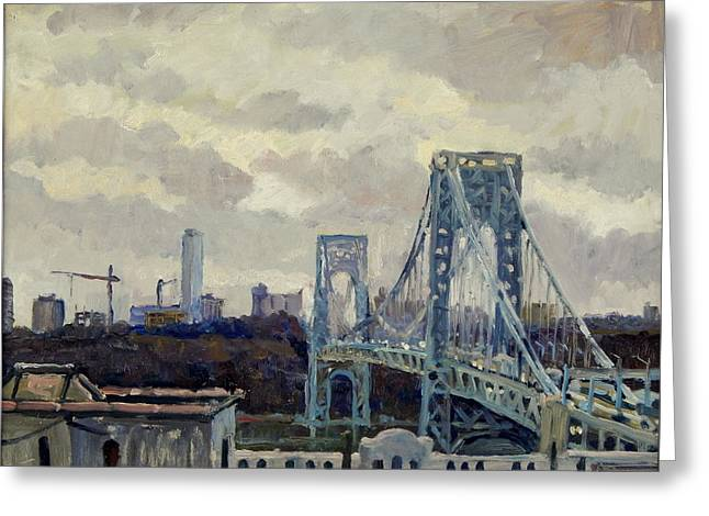 Winter Rain George Washington Bridge Greeting Card by Thor Wickstrom