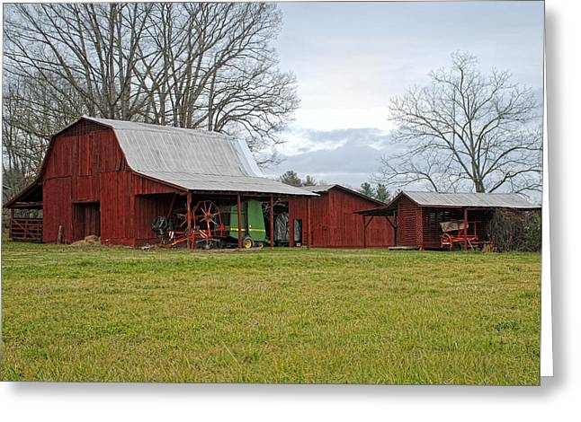 Winter Red Barn Greeting Card