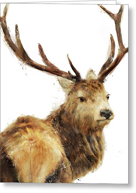 Winter Red Deer Greeting Card by Amy Hamilton