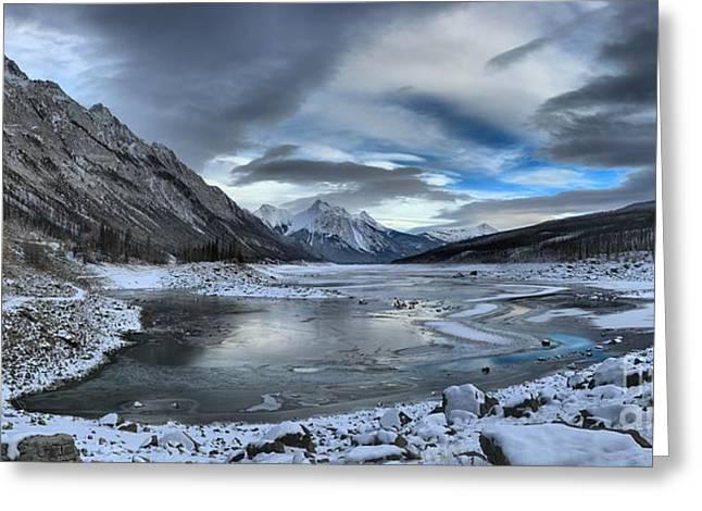 Winter Reflections At Medicine Lake Greeting Card