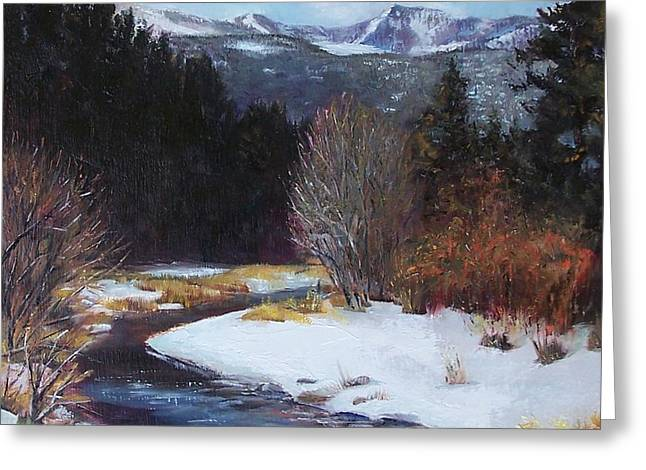 Winter River Bend Greeting Card by Donna Munsch