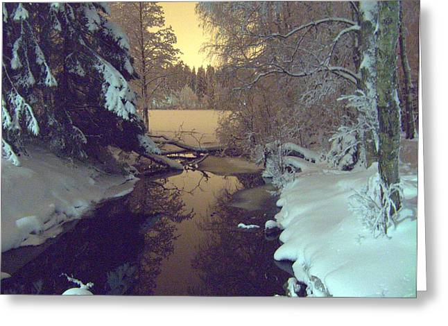 Greeting Card featuring the photograph Winter River by Sami Tiainen