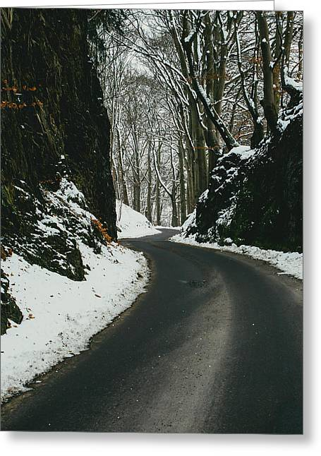 Winter Road And Snow Greeting Card by Pati Photography