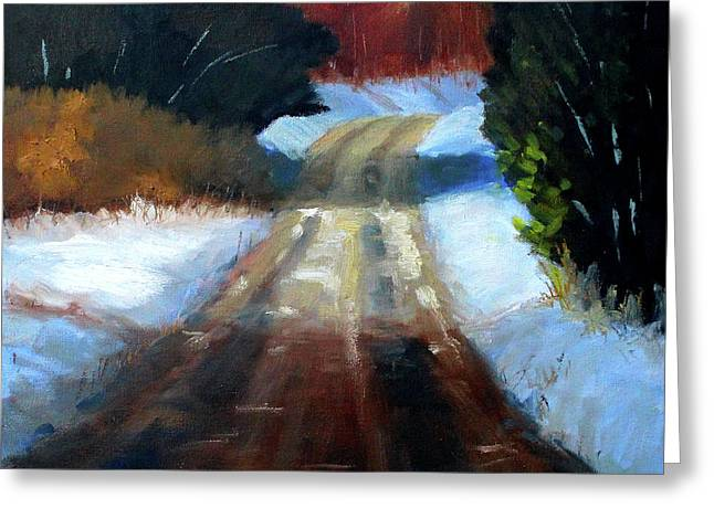 Winter Road Landscape Greeting Card