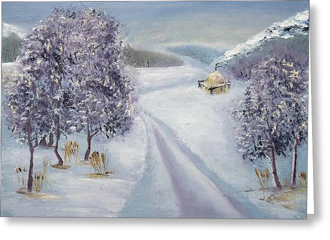 Winter Road Greeting Card by Minnur Galimzyanova