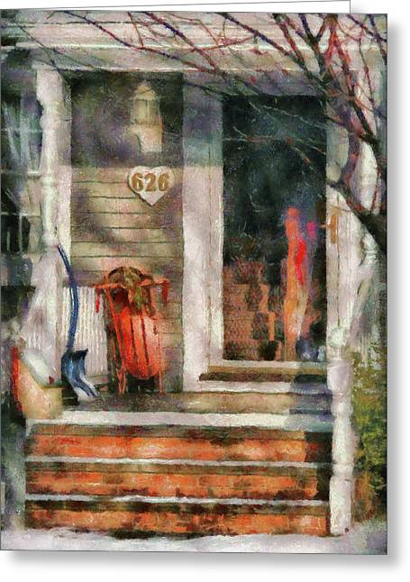 Winter - Rosebud And Shovel - Painted Greeting Card by Mike Savad