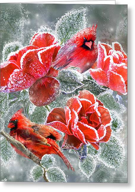 Winter Roses And Cardinals Greeting Card