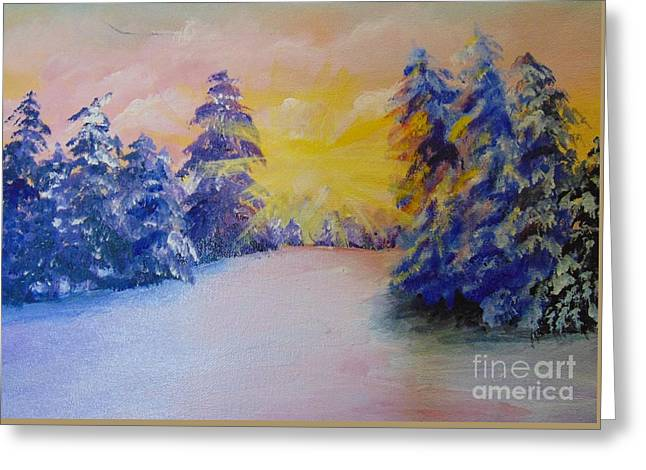 Greeting Card featuring the painting Winter by Saundra Johnson