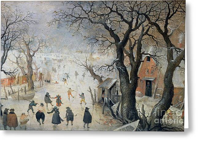 Skates Greeting Cards - Winter Scene Greeting Card by Hendrik Avercamp