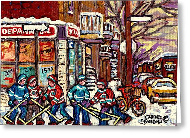 Winter Scene Hockey Painting Verdun Depanneur Kik Cola Bicycle Montreal Canadian Art Carole Spandau  Greeting Card by Carole Spandau