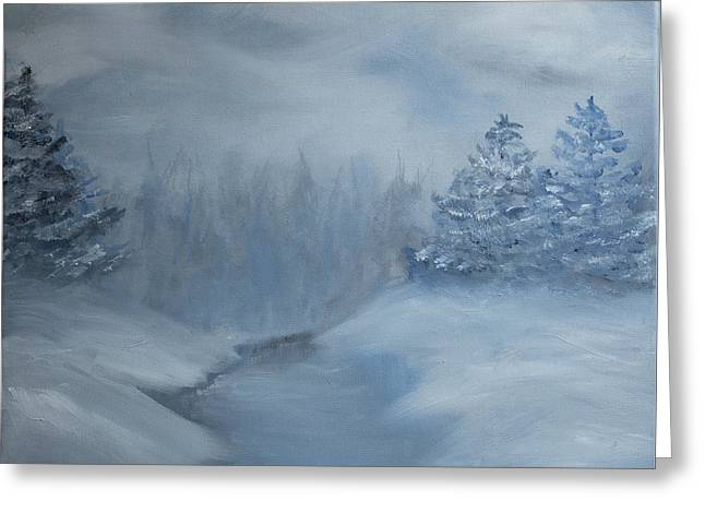 Greeting Card featuring the painting Winter Scene In Blue.  by Kara Evelyn-McNeil