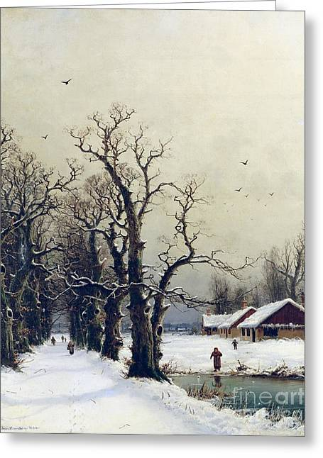 Tree Lined Greeting Cards - Winter scene Greeting Card by Nils Hans Christiansen