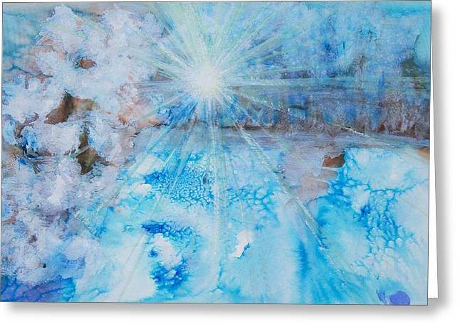 Abstract Expression Greeting Cards - Winter Scene Greeting Card by Tara Thelen