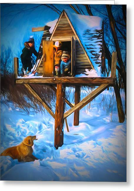 Winter Scene Three Kids And Dog Playing In A Treehouse Greeting Card