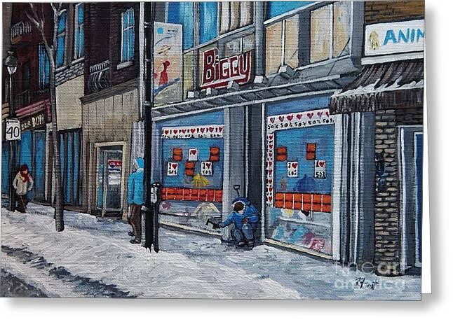 Winter Scene Verdun Greeting Card by Reb Frost