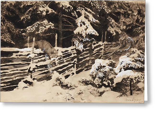 Winter Scene With Hunter And Fox By Fence Greeting Card